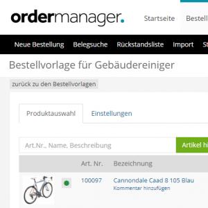 ordermanager bestellvorlage monatsbestellung