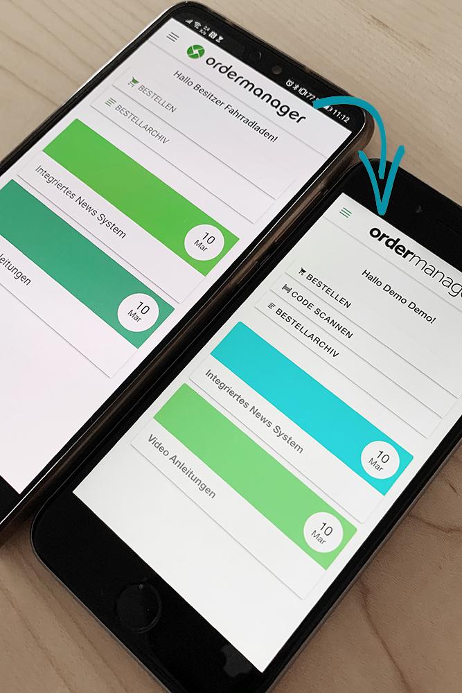 Neues Design in der ordermanager App